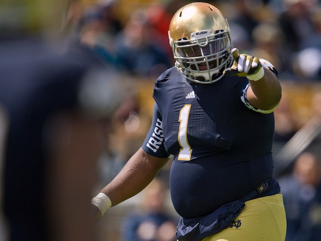 Notre Dame nose guard Louis Nix scored on a quarterback sneak in Saturday's spring game. (USATSI)