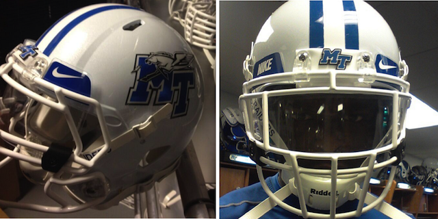 According to UniWatch, Middle Tennessee will have a new white helmet as an option for 2013. (Twitter.com)
