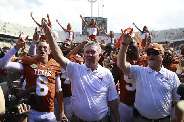 Mack Brown says there may not be an open job at Texas if he keeps winning. (USATSI)