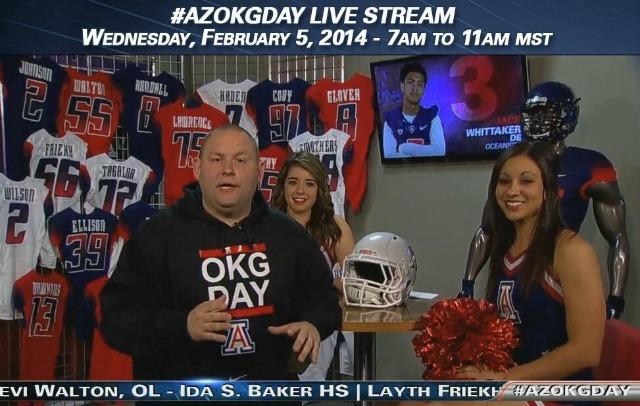 Arizona recruiting coordinator Matt Dudek plays a starring role on Signing Day. (Arizona athletics)