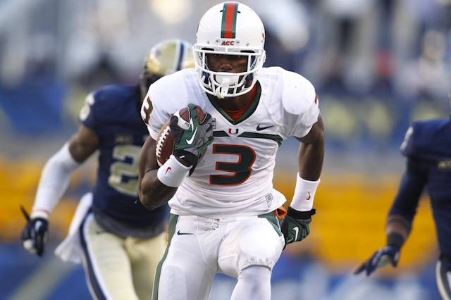 Stacy Coley scored three first half touchdowns against Pitt in Miami's 41-31 win. (USATSI)