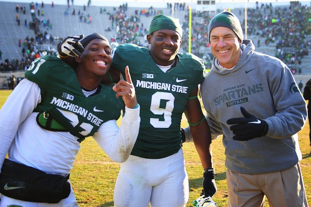 Mark Dantonio believes the Big Ten champion should be considered for the BCS title game.  (USATSI)