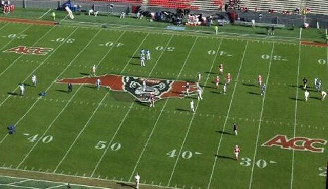 A press box view of N.C. State's midfield logo from The Gaston Gazette. (USATSI)