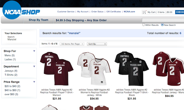 Searching 'Manziel' on ShopNCAASports.com conveniently returns results for a No. 2 jersey. (Screen Shot)