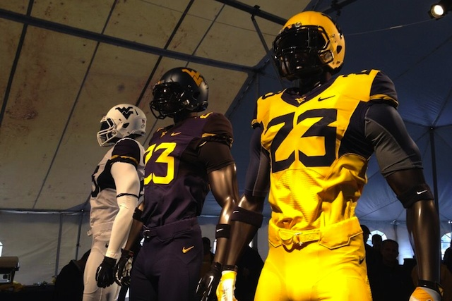 West Virginia revealed their new uniforms before the Gold-Blue spring game on Saturday. (Patrick Southern/Twitter.com)