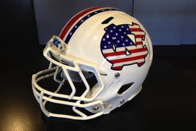 North Carolina will wear these helmets for Military Appreciation Day against ECU. (Twitter/UNC Football)