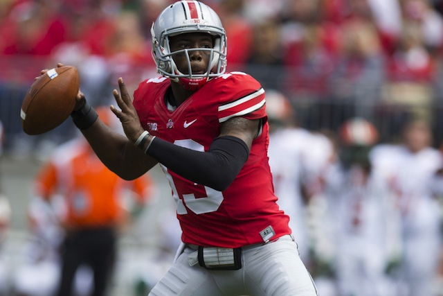 Ohio State quarterback Kenny Guiton set a single-game school record with six TD passes -- all in the first half. (USATSI)