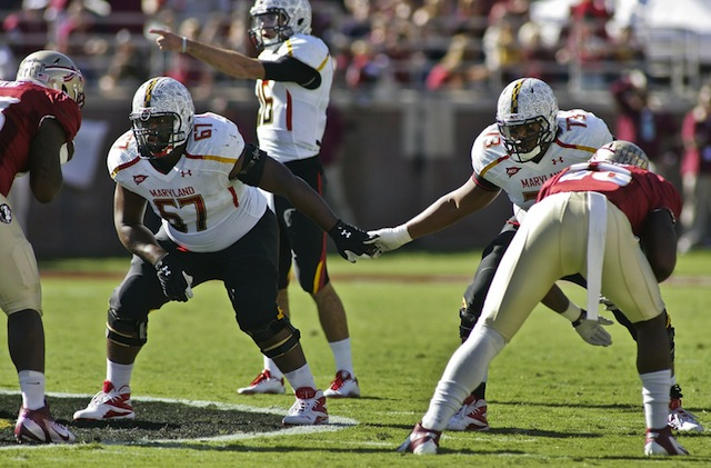 Former Maryland OL Pete White (No. 67) will use his last year of eligibility competing for Temple in 2013. (USATSI)