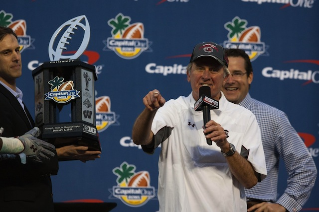 Steve Spurrier took a shot at Clemson while celebrating the Capital One Bowl win.  (USATSI)