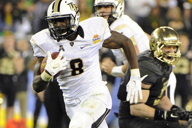Storm Johnson ran for 124 yards and 3 TD's against Baylor in the Knights' Fiesta Bowl win.  (USATSI)