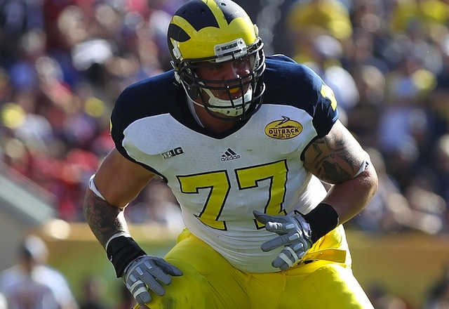 Michigan tackle Taylor Lewan will challenge the best defensive linemen and linebackers for the Lombardi Award. (USATSI)