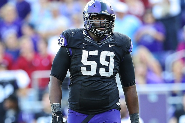 TCU starting offensive tackle Tayo Fabuluje quit the team for personal reasons. (USATSI)
