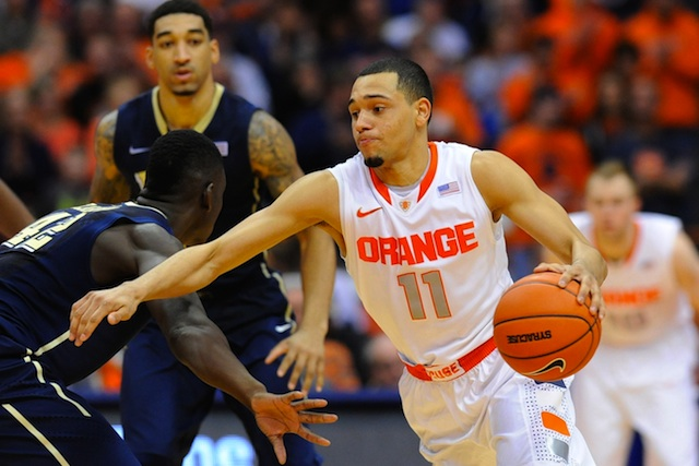 Tyler Ennis scored six points int he final two minutes to help Syracuse remain undefeated.  (USATSI)