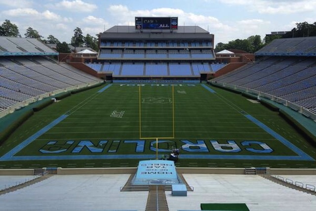North Carolina's argyle end zones getting painted for the home opener. (UNC Athletics/Twitter.com)