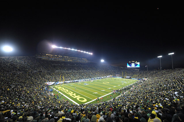 Autzen Stadium hosts a possible playoff preview this weekend