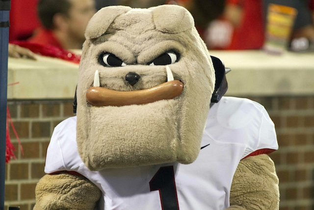 Only a mascot head can hide the pain Bulldog fans feel