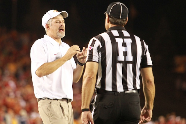 Paul Rhoads spent a lot of time talking to officials on Thursday night