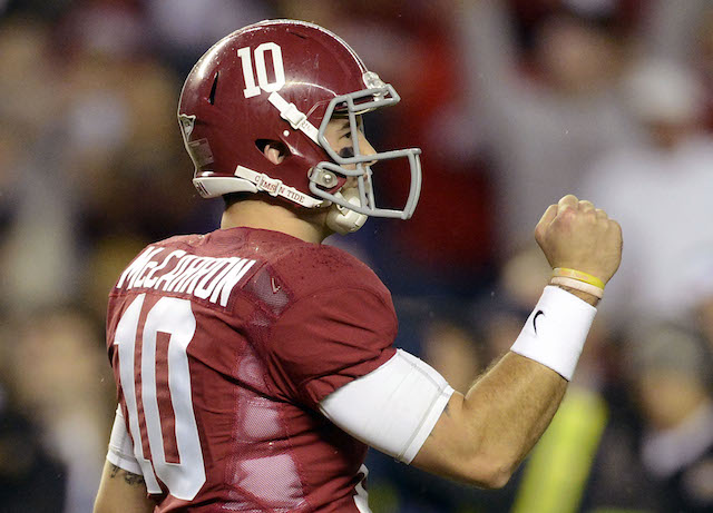 AJ McCarron and the Tide would be favored over everybody in the BCS Championship
