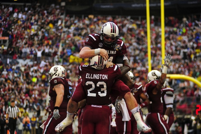 Connor Shaw and Bruce Ellington linked up for three touchdowns in South Carolina's Capital One Bowl win.  (USATSI)