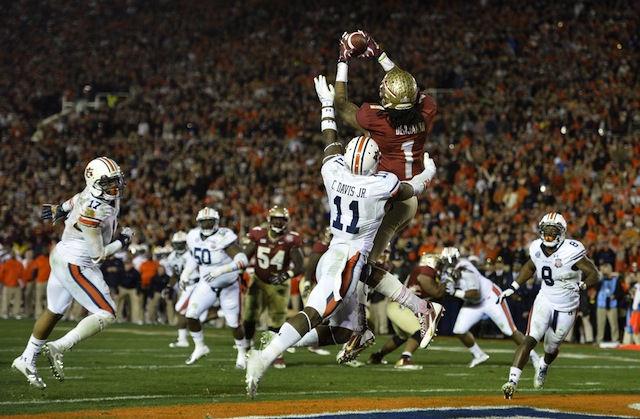 Kelvin Benjamin will forever be remembered at FSU for this game-winning catch.  (USATSI)