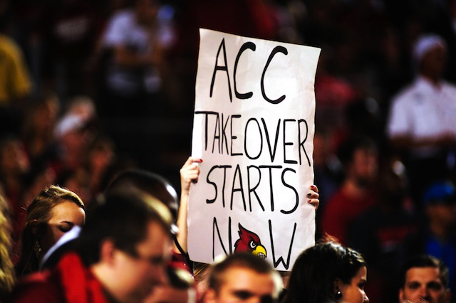 Louisville fans got the ACC smack talk going during the bowl win against Miami.  (USATSI)