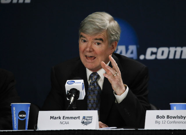 NCAA president Mark Emmert spoke against unionization Sunday