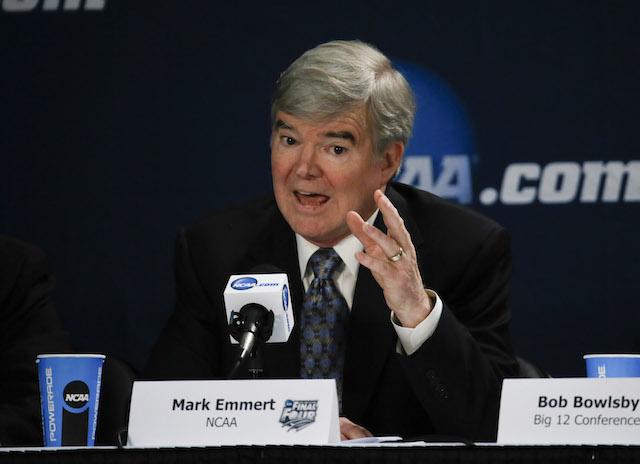 NCAA president Mark Emmert spoke against unionization Sunday
