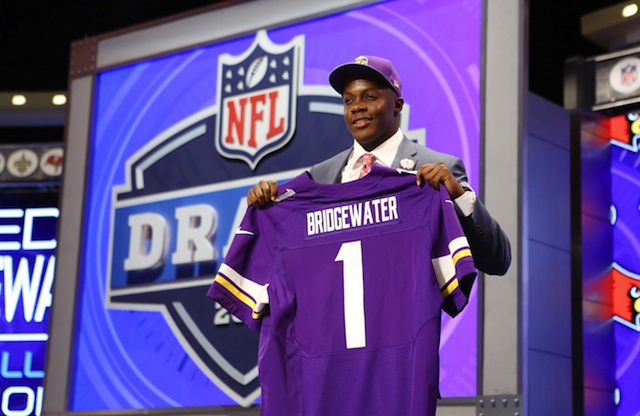 Teddy Bridgewater smiles after his first round selection on Thursday night.  (USATSI)