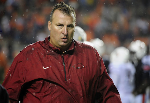 Bret Bielema isn't blaming a faulty elevator for Arkansas' poor second half at Auburn
