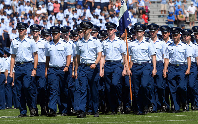 Air Force cadets march onto Falcon Stadium before the game between against Nicholls State. (USATSI)