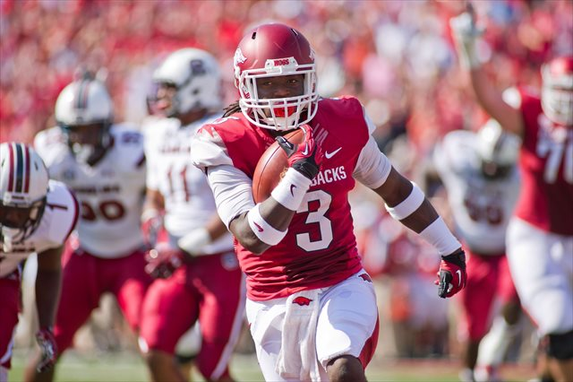 Alex Collins rushed for 1,026 yards as a freshman. (USATSI)