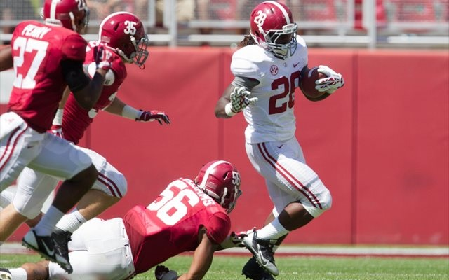 Altee Tenpenny (No. 28) rushed for 218 yards in two seasons at Alabama. (USATSI)