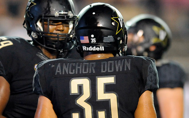 Vanderbilt had 'Anchor Down' on its jerseys against Temple. (USATSI)