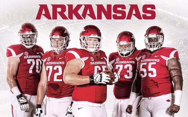LOOK: Arkansas has its offensive line on its media guide ...