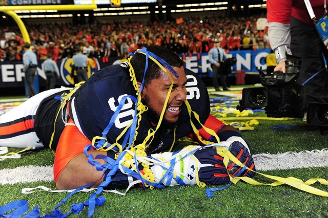 Vegas feels this will Gabe Wright and Auburn's last celebration of the season. (USATSI)