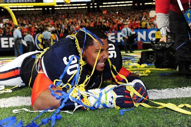 Vegas feels this will Gabe Wright and Auburn's last celebration of the season. (USATSI)