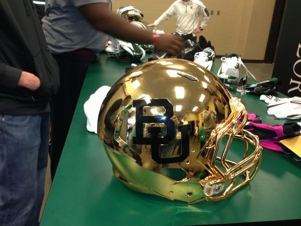 Baylor's new shiny happy helmet.