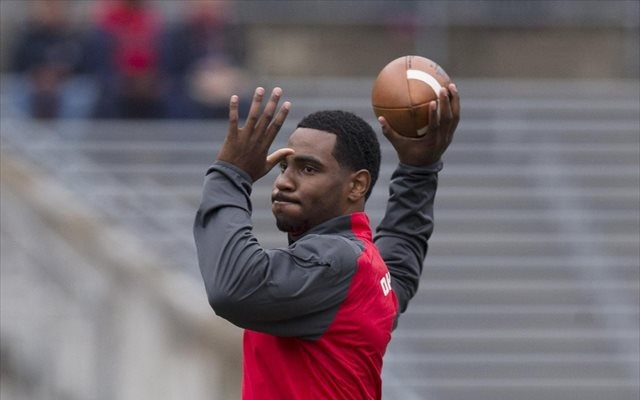 Braxton Miller warmed up but did not play Saturday. (USATSI)