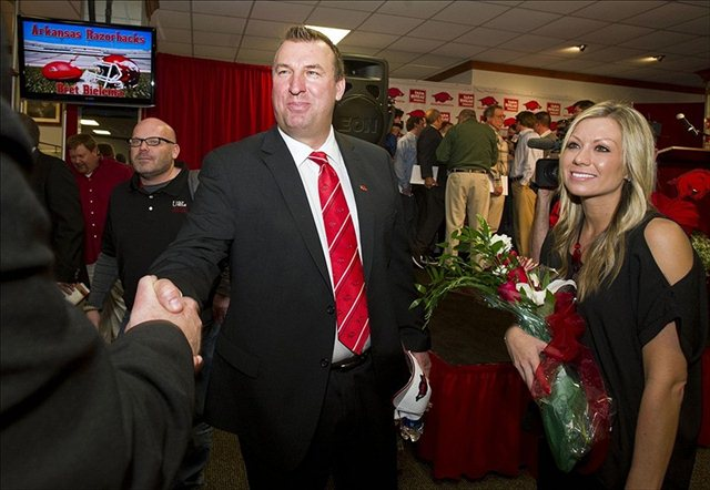 Bret Bielema (shown at his introductory press conference) isn't lacking for confidence. (USATSI)