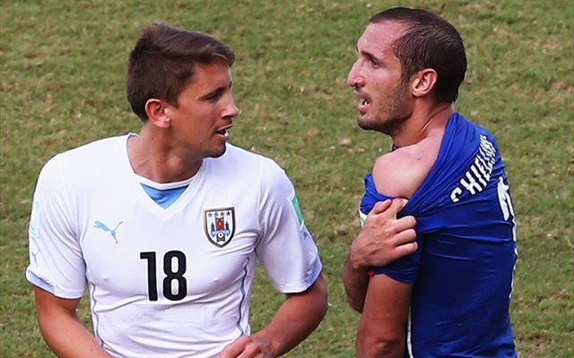 Giorgio Chiellini isn't a fan of FIFA's post-match ban for Luis Suarez. (Getty Images)