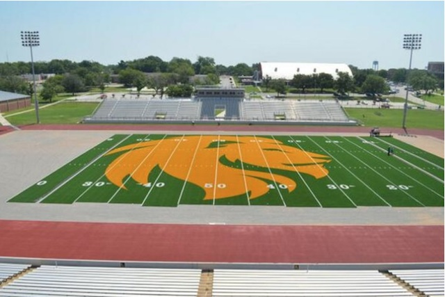 That's a full 50 yards of logo. (A&M-Commerce Lion Athletics)