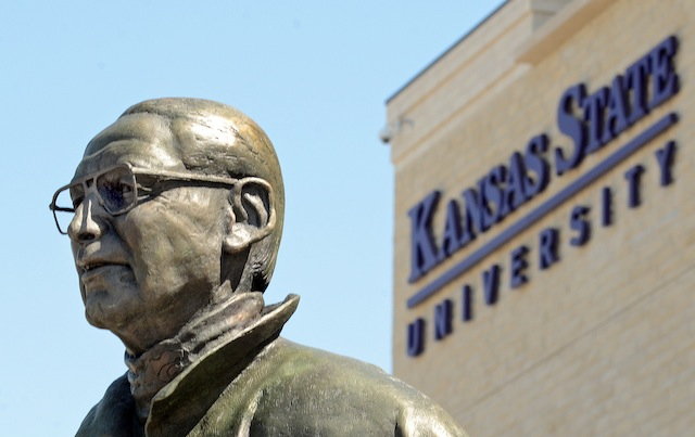 Kansas State unveiled a Bill Snyder statue outside the new West Stadium Center. (Kansas State Athletics)