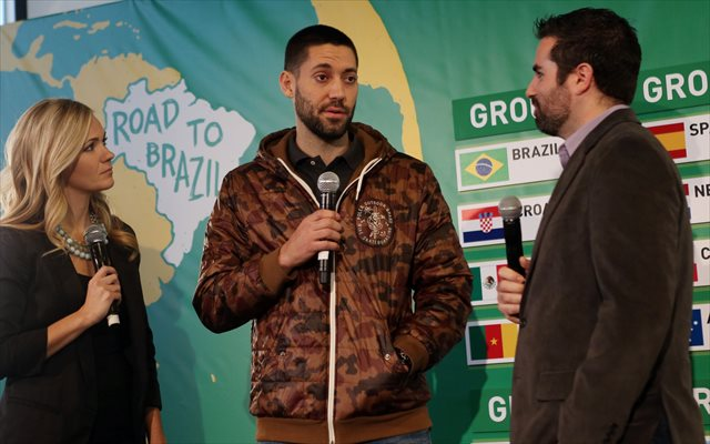 Clint Dempsey (shown at MLS's World Cup draw event) and the US got no favors. (USATSI)