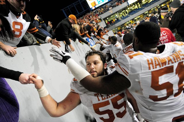 Dominic Espinosa (No. 55) started 40 straight games for Texas. (USATSI)