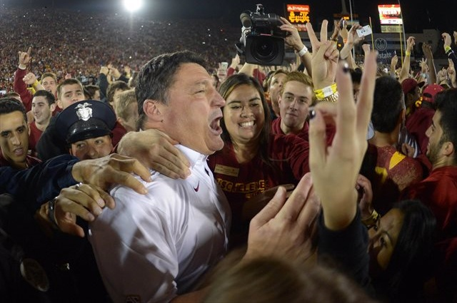 Ed Orgeron has a groundswell of support in the USC job hunt. (USATSI)