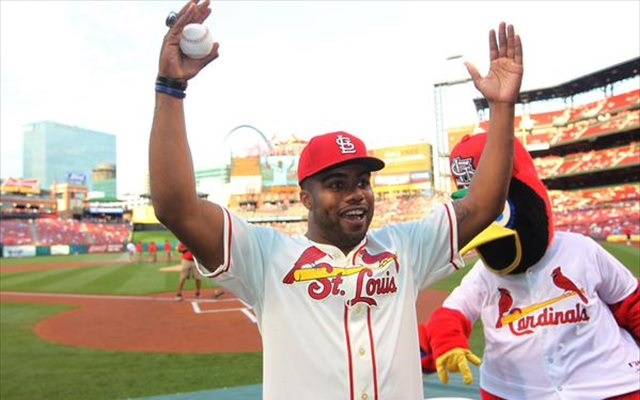 Ezekiel Elliott delivered a strike for the Cardinals' first pitch Tuesday. (@Cardinals)