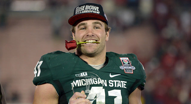 Kyler Elsworth celebrates after Michigan State beats Stanford in the Rose Bowl. (USATSI)