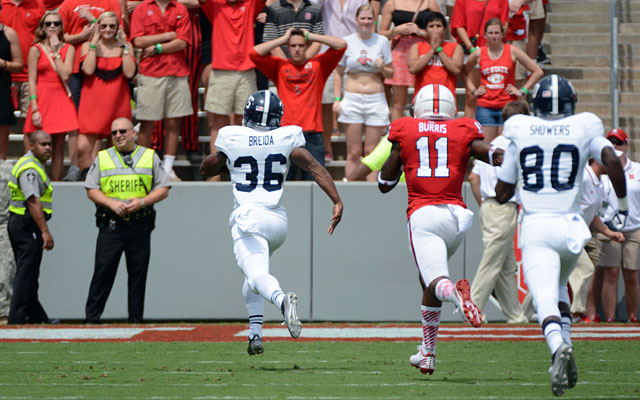 North Carolina State fans react as Georgia Southern's Matthew Breida (36) scores a touchdown. (USATSI)