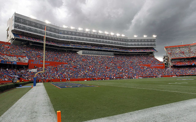 Florida was in a weather delay after storms rolled through Gainesville. (USATSI)