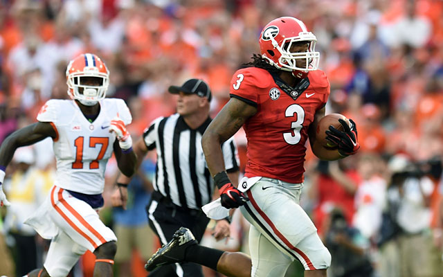 Todd Gurley returns a kickoff for a touchdown against Clemson. (USATSI)